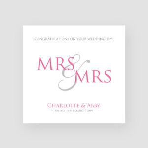 Handmade Personalised Lesbian Wedding Day Card Mrs Bride Gay Congratulations