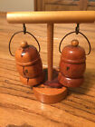 VINTAGE - WOODEN LANTERNS WITH STAND SALT AND PEPPER SHAKERS DAYTONA BEACH FL