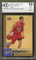 2009-10 Upper Deck 1st Edition Gold #196 Stephen Curry Rookie BGS BCCG 10 MINT