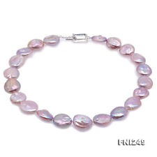 Unique 17.5×19-18×20mm Lavender Baroque Real Freshwater Pearl Necklace 18""