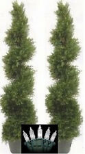 "2 CYPRESS OUTDOOR TOPIARY ARTIFICIAL PLANT TREE 50"" CEDAR SPIRAL CHRISTMAS LIGHT"