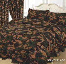 Lit double housse de couette Camouflage Vert Kaki Armée chocolat beige