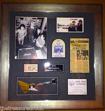 Vintage early U2 autograph signed Bono Edge Explorer guitar pass FRAMED PSA DNA