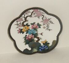 """Inaba Cloisonne White Enamel Floral Blossom 7""""1/2 Scalloped Plate Signed"""