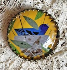 """BLUE BIRD in Nest 11/4"""" Glass Dome  BUTTON Vintage Charlie Harper Mid Century"""