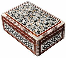Egyptian Mosaic Jewelry Trinket Box Inlaid Wood Mother of Pearl Jewelry Box