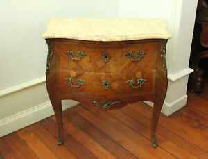 Louis XV Style Antique French Marble Top Marquetry Commode (Late 19th Cent.)
