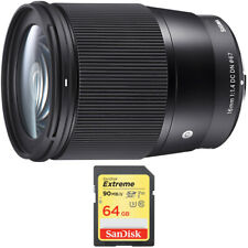 Sigma 16mm F1.4 DC DN Sony E Mount Lens + Sandisk 64GB Extreme SDXC Memory Card