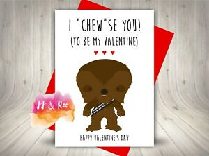 Cute Star Wars Inspired Funny Valentines Card   I Chewse You   Chewy