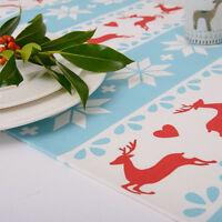 Luxurious Designer Christmas Table Runner Choice Of Lengths Blue Scandinavian