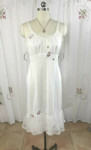 Vtg 50s Laros Ivory Full Slip Dress Embroidered Pink Roses Chiffon Overlay sz 36
