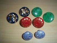 Vintage Lucite Confetti & Plastic Earrings Lot - Screw Backs and Clip Ons