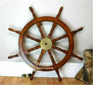 36'' Big Ship Wooden Steering Wheel Wall Antique Brass Nautical Pirate Ship Gift