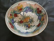 Bowl With Fruit Design Grapes Pears Plums Cherries Decorative Use Only Gold Trim