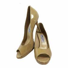 JIMMY CHOO Nude Peep Toe Patent Leather Heels New Size 38 1/2