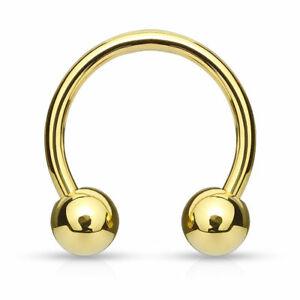 Gold Circular Barbell Horseshoe Steel Ring Septum Ear Cartilage Nipple Eyebrow