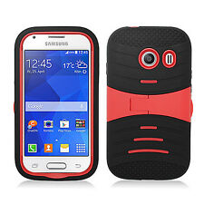 For Straight Talk Samsung Galaxy ACE Hard Gel Rubber KICKSTAND Case Phone Cover