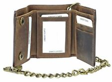 """Men's RFID Blocking Brown Leather Motorcycle Biker Trifold Wallet With 17"""" Chain"""