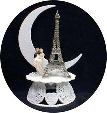 Eiffel Tower Replica Wedding Cake Topper Paris France Silver  Romantic Honeymoon