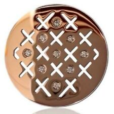 Carlo Biagi Coin CROSS HATCH WITH CZ Rose Gold Tone NEW