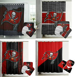 Tampa Bay Buccaneers Bathroom Rug Set 4PCS Shower Curtain Toilet Seat Cover Gift