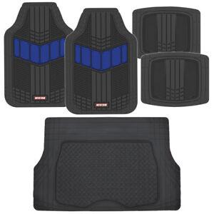Motor Trend FlexTough 2-Tone Rubber Floor Mats 5 PC Set - Blue for Car SUV Auto