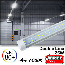 10-100 PACK LED INTEGRATED 4FT T8 Tube Light Bulbs 36W 6500K Double Line CLEAR