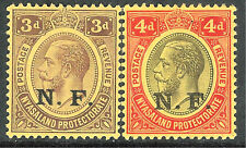 Nyasaland 1916 N.F purple on yellow 3d black/red on yellow 4d mint  SGN3/N4