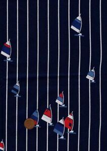 100% Cotton Fabric Novelty Nautical Windsurf Navy White Stripe Red Blue Craft