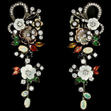 MULTI SAPPHIRE FIRE OPAL MOTHER OF PEARL & WHITE CZ 925 STERLING SILVER EARRING