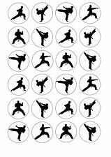 24 x KARATE Wafer Rice Paper EDIBLE Cupcake Toppers MARTIAL ARTS Taekwondo
