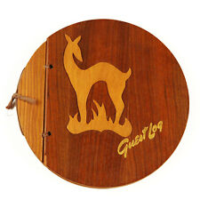 Vintage Wooden Deer Guest Book Round Cover Midcentury Woodland Wedding