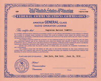 Personalized Repro Old Style Amateur Radio License Ham - Choice of Class, SALMON