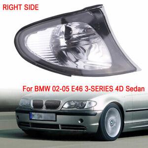 Right For 02-05 BMW E46 3-SERIES 4DR Sedan Corner Lights - Crystal Clear Lens