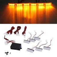 6 X3 LED Car Auto Boat Amber DIY Emergency Flashing Grill Strobe Flash Light 12V