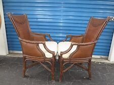 Pair Bamboo Arm Chairs Lexington Rattan 2 Tortoise Tropical Cane Lounge Dining