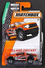 2015 Matchbox #118 Ford F-150 SVT Raptor ORANGE METALLIC/4x4 RAPTOR/MOC