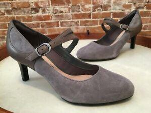 Clarks Grey Suede Mary Jane Dancer Reece Pumps 6.5 New