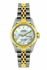LADIES 26MM ROLEX WATCH 18K GOLD SS DIAMOND CASE WATCH WITH ROMAN NUMERAL DIAL