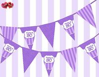 Pretty Purple Happy 30th Birthday Vintage Polka Dots Theme Bunting Banner Party