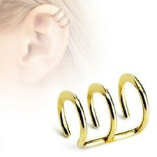 Gold Hoops Ring Fake NO Piercing Cheater CARTILAGE EAR CUFF Wrap Clip on Earring