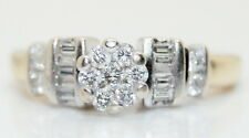 Vintage Women's 14K Gold .65 Ct RB & Baguette Diamond Cluster Ring Size 6.5