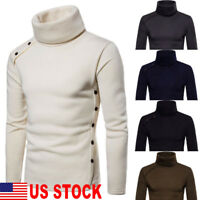 NEW MENS ROLL NECK LONG SLEEVE COTTON TOP NECK TURTLE NECK BASIC T SHIRTS US