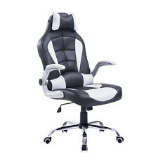 Race Car Style Office Gaming Chair Recliner Swivel Computer Seat White