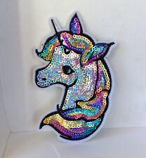 Bright Rainbow Unicorn Brillant Sequin brodé Appliques Patch A Coudre ou Fer #3