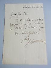 "Julius Stettenheim (1831-1916): Eh. Lettre Berlin 1890; promesse ""de Berlin les guêpes"""