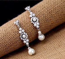 NEW Fashion Glamour Silver Pearl Wedding Bridal Statement Drops Earrings Gift UK