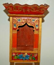 WOODEN INDIA HINDU TEMPLE POOJA CHAR MANDAP HANDMADE COLLECTIBLE HAND PAINTED