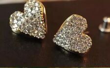 Beautiful Heart Stud Earrings with Crystal Glass  - Bride or Bridesmaid