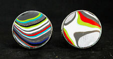 Fordite Cuff Links - Silver Base/20mm Round - Priced Per Pair  (20S1-011)